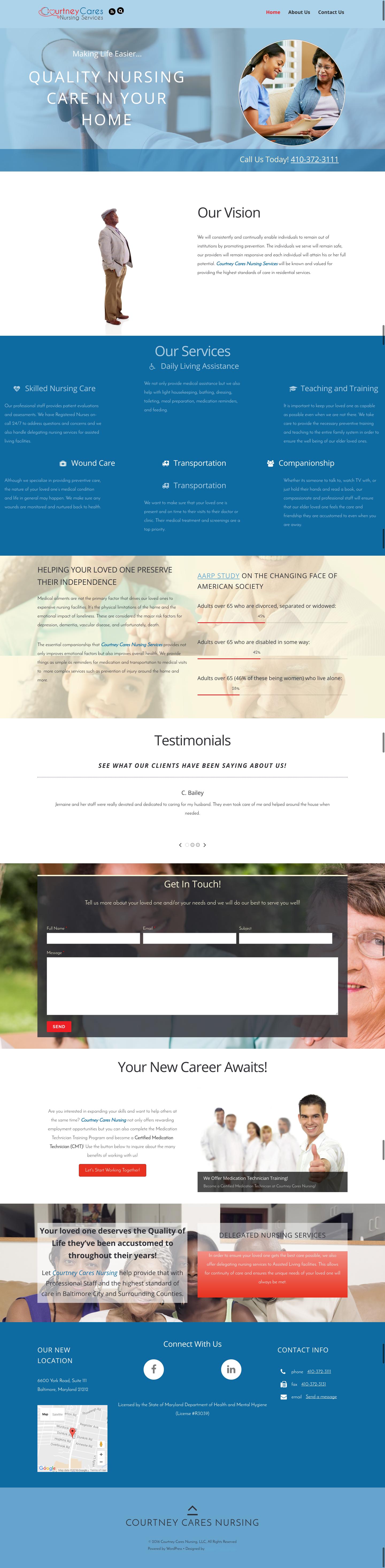 web design for courtney cares nursing